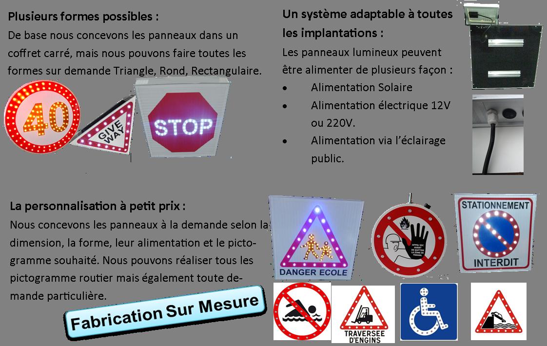 Panneaux lumineux routiers Stop Led