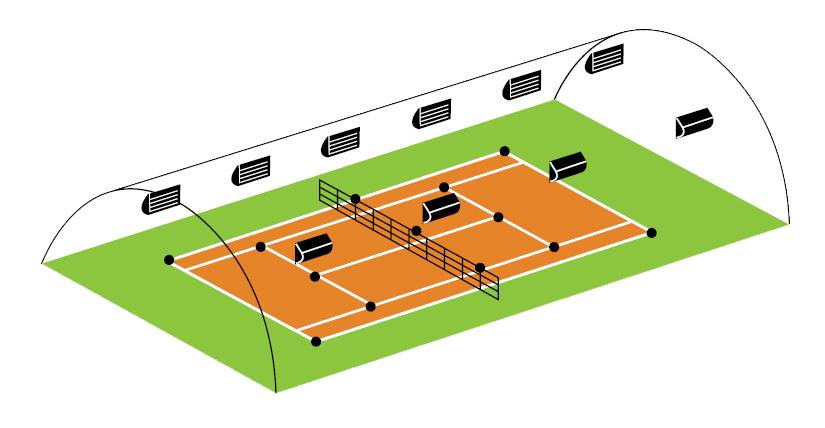 Eclairage sportif eclairage tennis stop led for Terrain de tennis dimensions