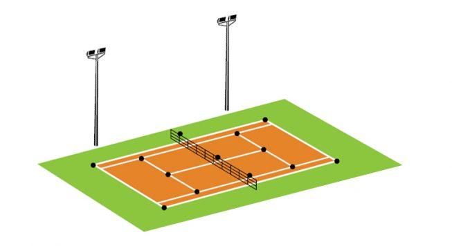 eclairage tennis 2 poteaux