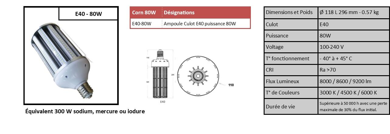 Ampoule Corn E40 ou E27 idéale éclairage public