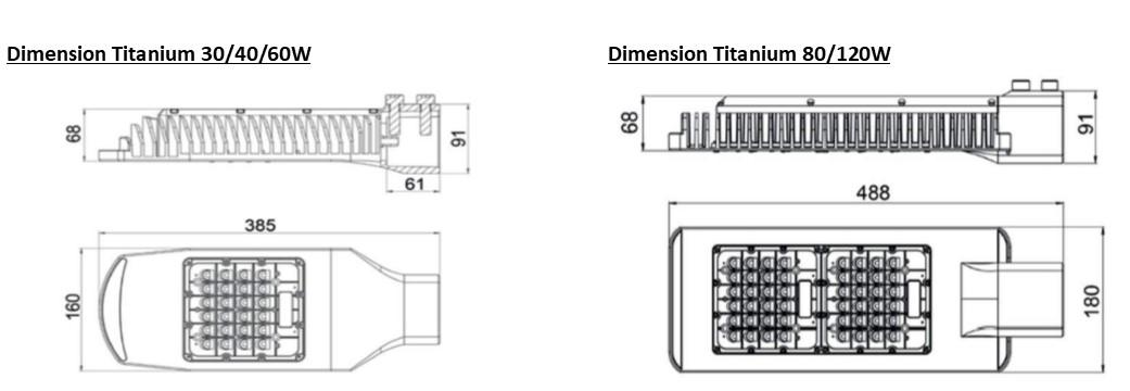 Titanium tete de lampadaire led